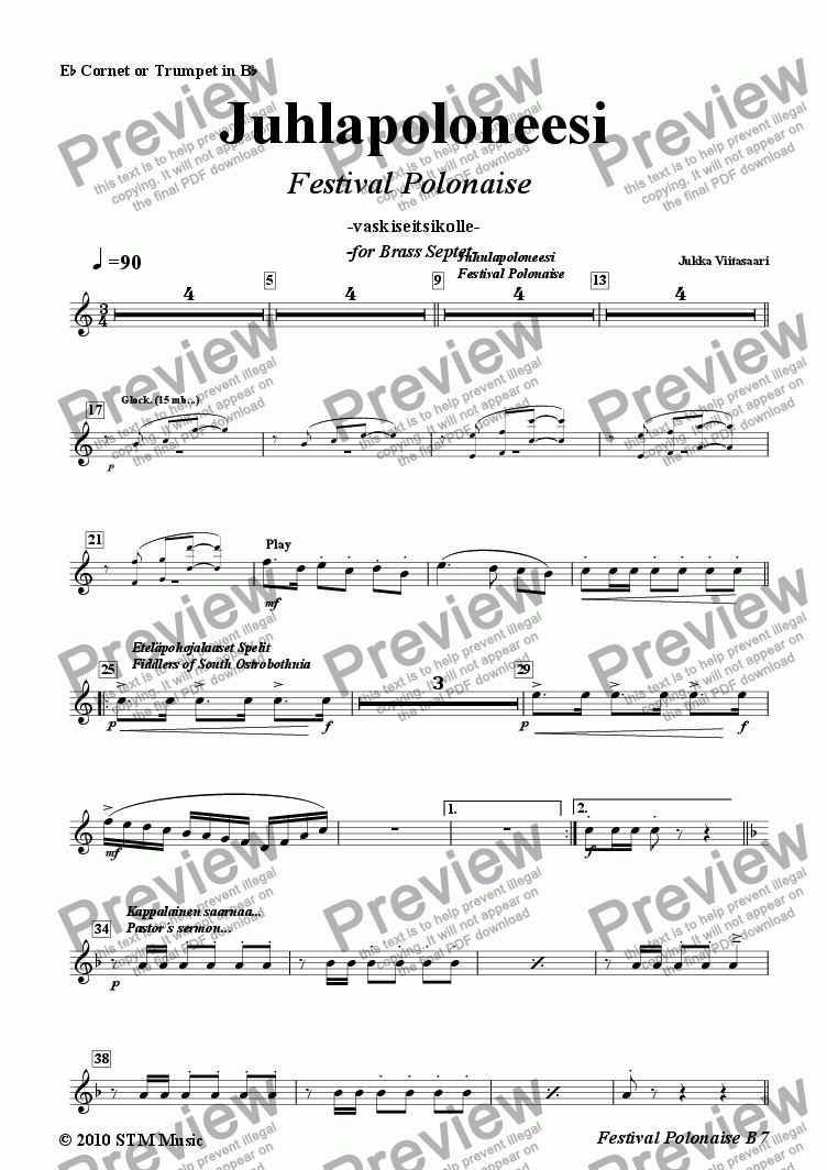 page one of the 1B. Eb Cornet/Trumpet in Bb part from Festival Polonaise (brass septet)