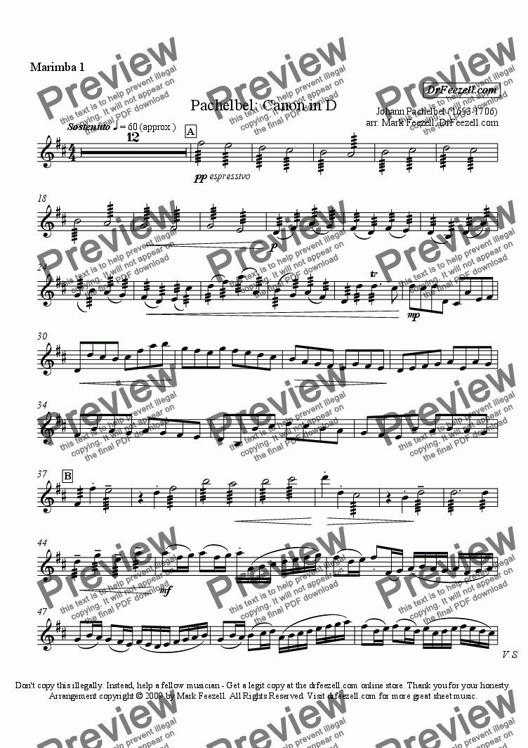 page one of the marimba 1 part from Pachelbel's Canon for percussion quartet or percussion ensemble