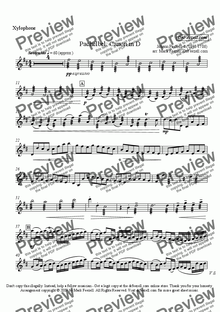 page one of the xylophone part from Pachelbel's Canon for percussion quartet or percussion ensemble