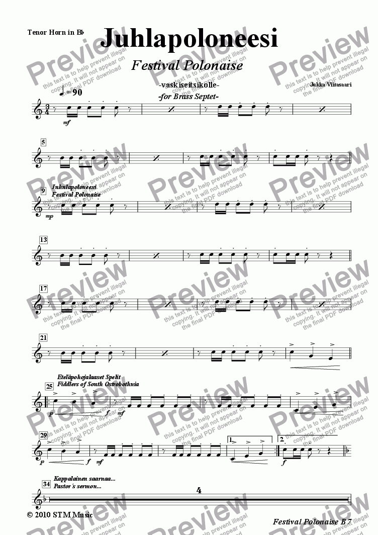 page one of the 5. Tenor Horn in Bb  (T.C.) part from Festival Polonaise (brass septet)