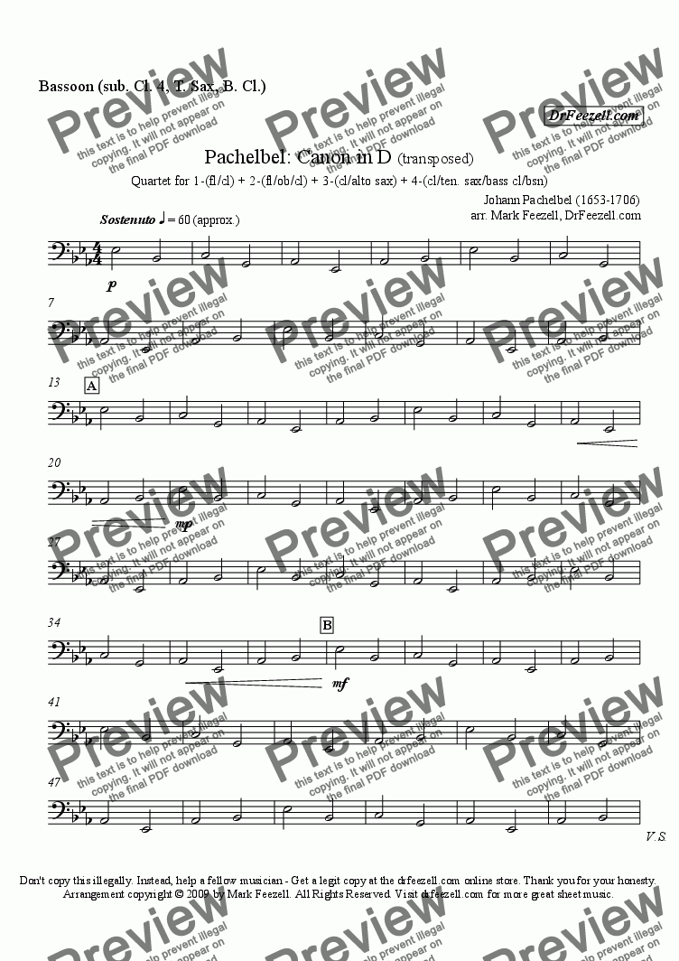 page one of the bassoon (sub clar 4, ten sax, bass clar) part from Pachelbel's Canon for woodwind quartet (many substitute parts available)