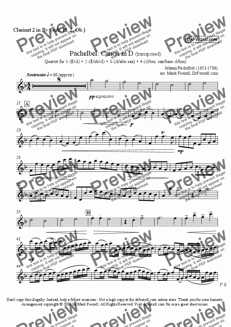 page one of the clarinet 2 (sub flute 2, oboe) part from Pachelbel's Canon for woodwind quartet (many substitute parts available)