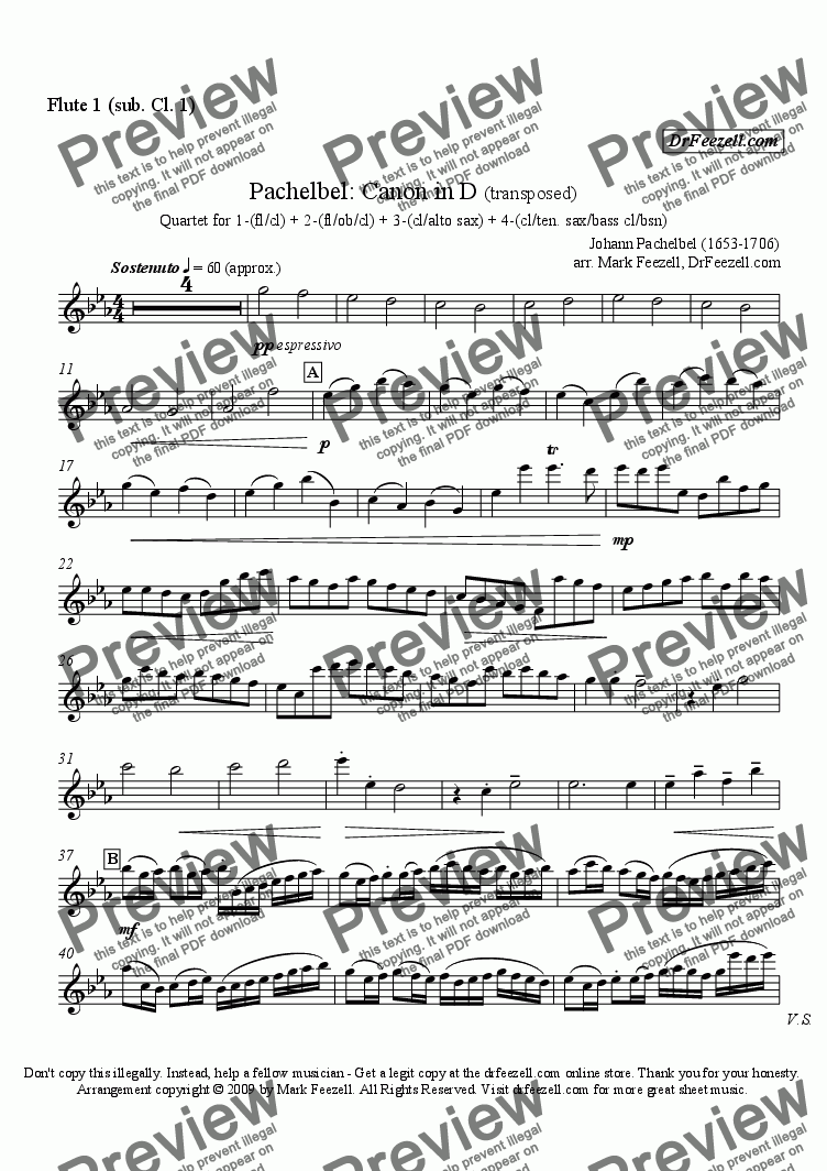 page one of the flute 1 (sub clarinet 1) part from Pachelbel's Canon for woodwind quartet (many substitute parts available)