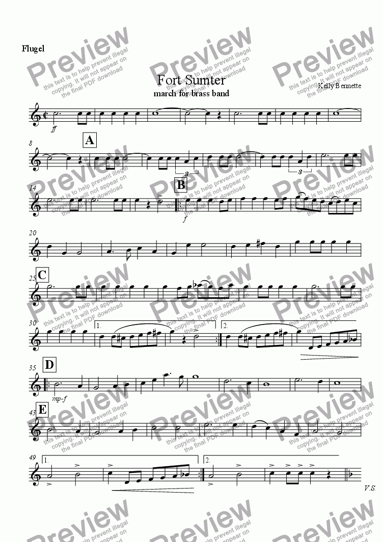 page one of the Flugelhorn part from Fort Sumter March(brass band)