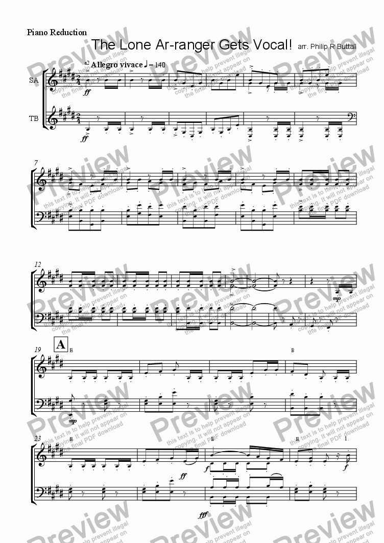 page one of the Piano Reduction part from The Lone Ar-ranger goes Vocal!