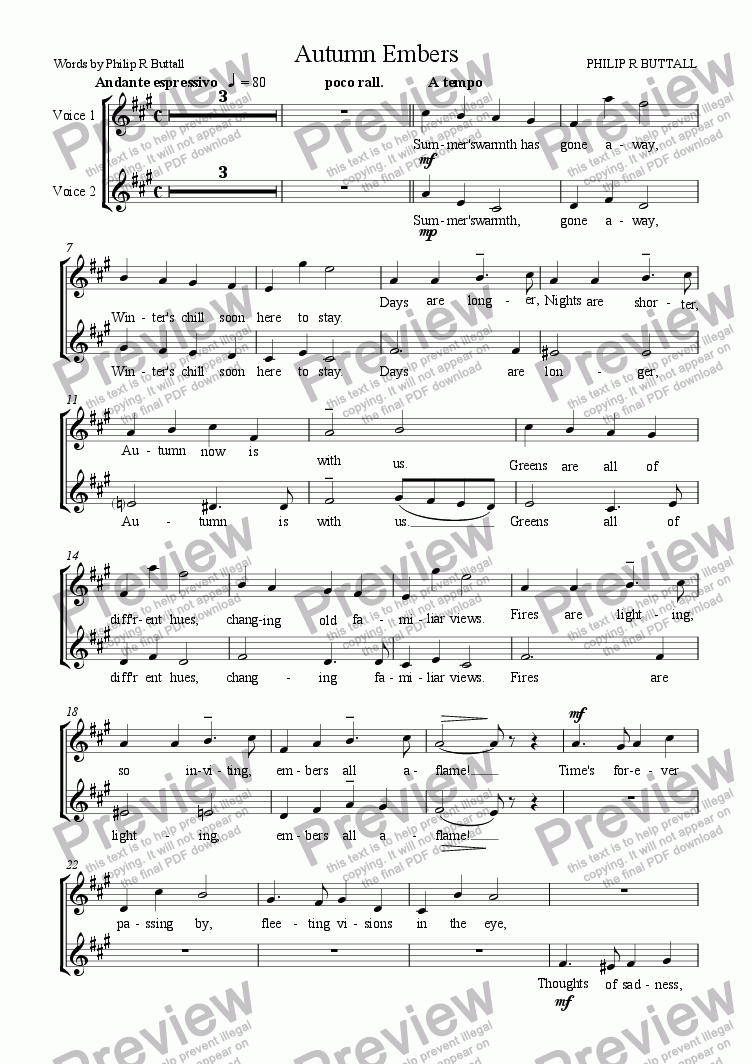 page one of the Voice 1 + 2 part from Autumn Embers (Vocal Duet)