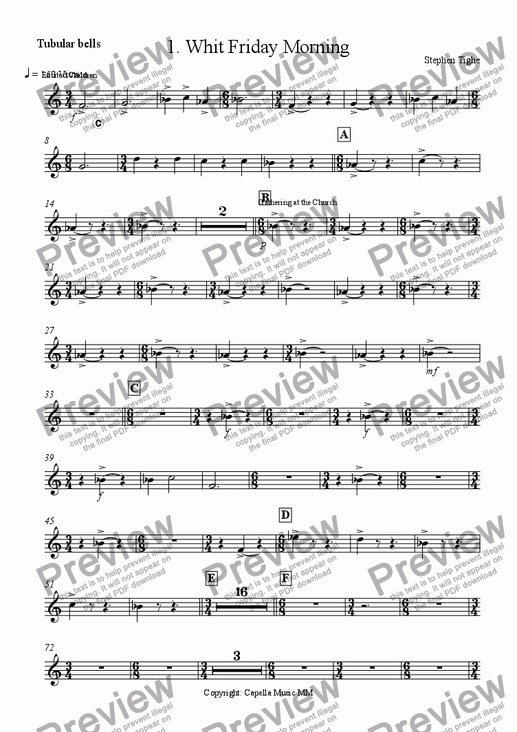 "page one of the Tubular Bells part from Little Suite for Band No 1 ""Spirit Of The Day"""