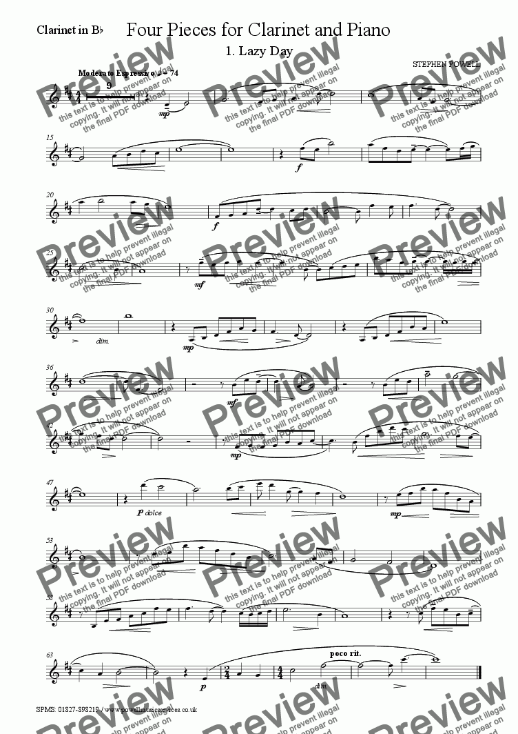 page one of the Clarinet in Bb part from Four Pieces for Clarinet and Piano - 1. Lazy Day