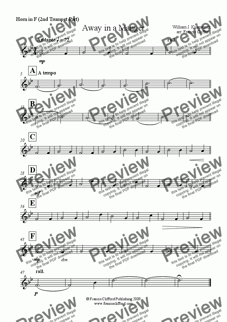 page one of the Horn in F (2nd Trumpet Part) part from Away in a Manger (Brass Quintet Version)