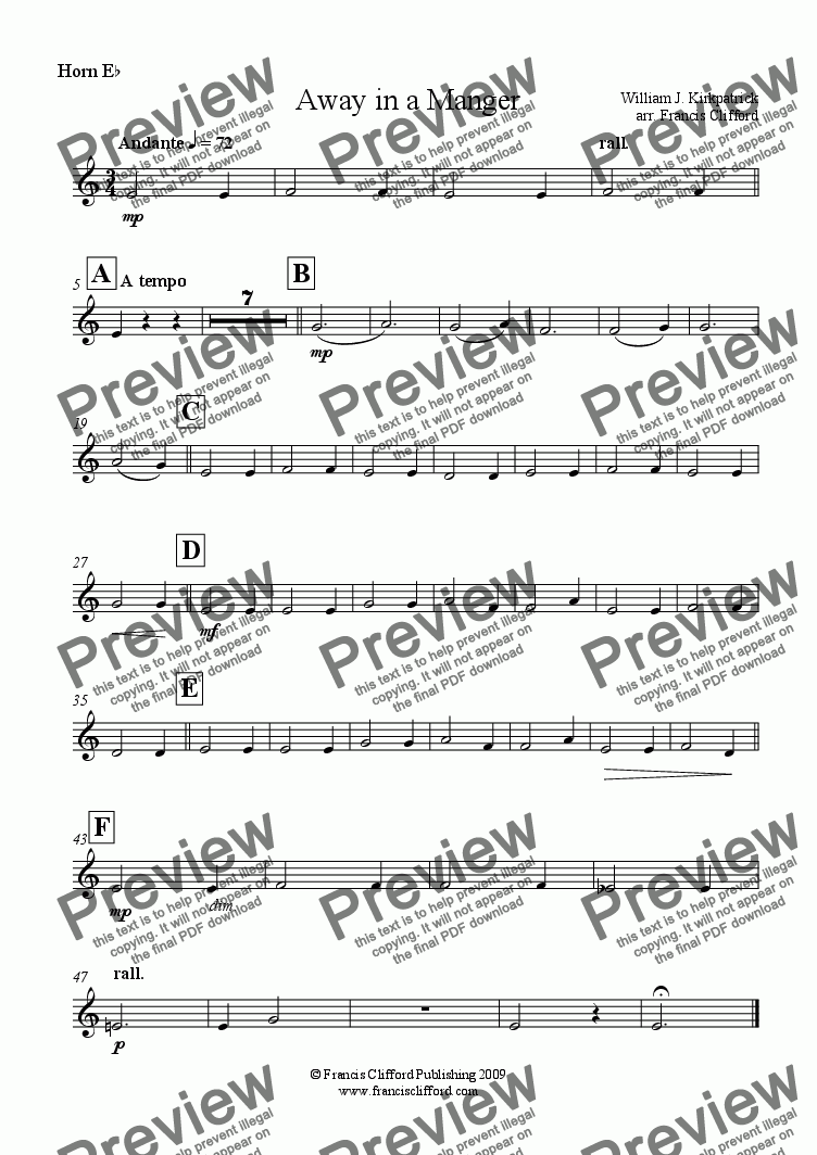 page one of the Horn in Eb part from Away in a Manger (Brass Quintet Version)