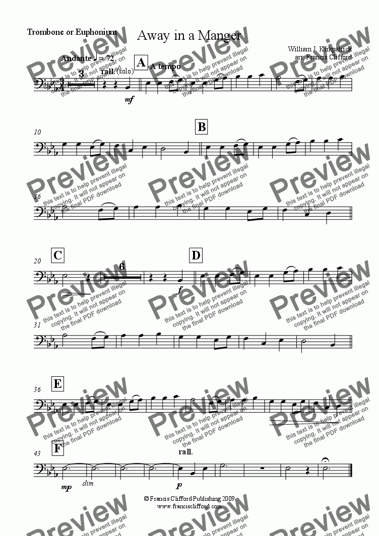 page one of the Trombone part from Away in a Manger (Brass Quintet Version)