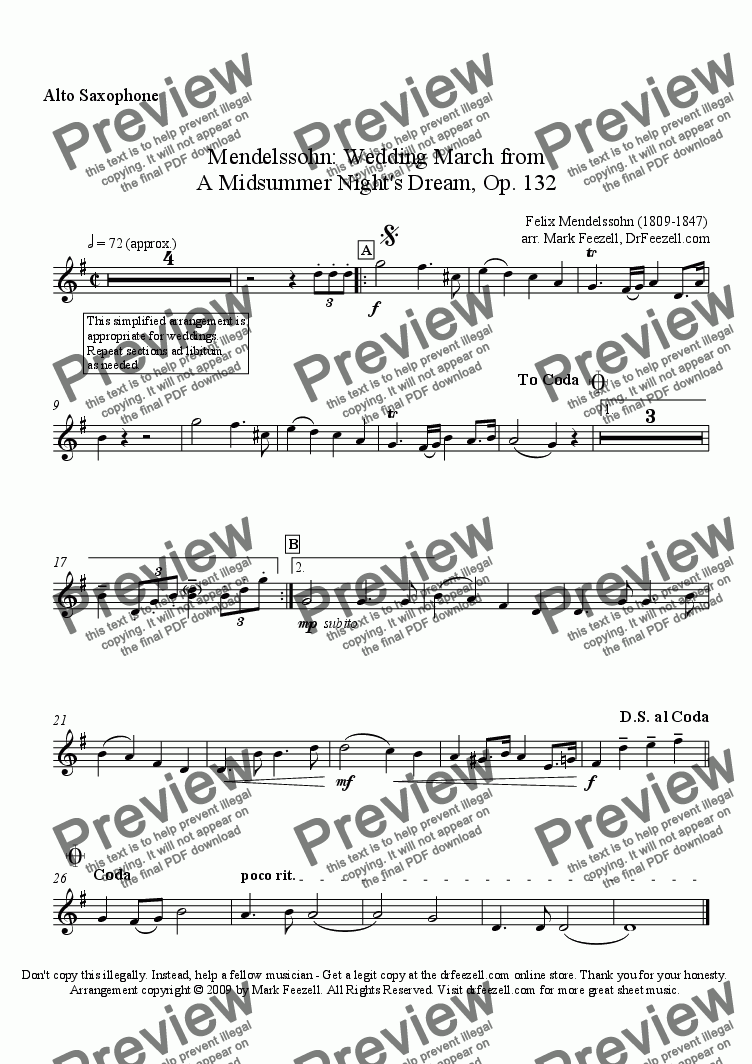 page one of the alto sax solo part part from Wedding March for alto saxophone and piano