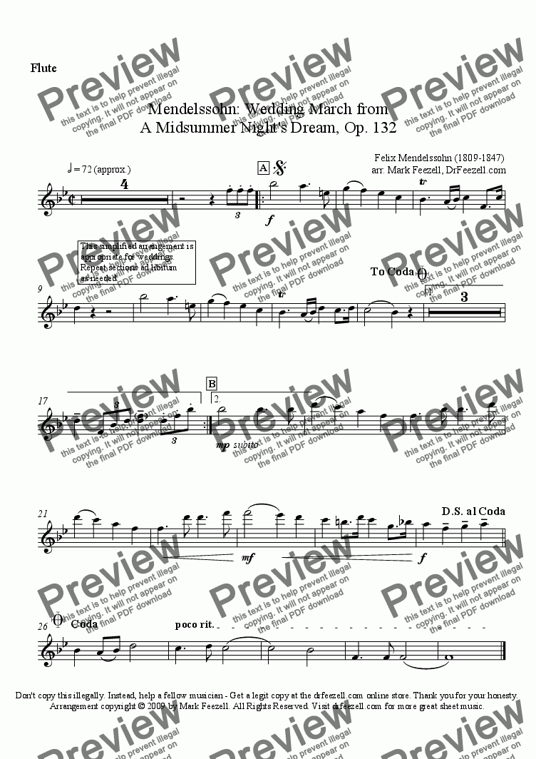 page one of the flute solo part part from Wedding March for flute and piano