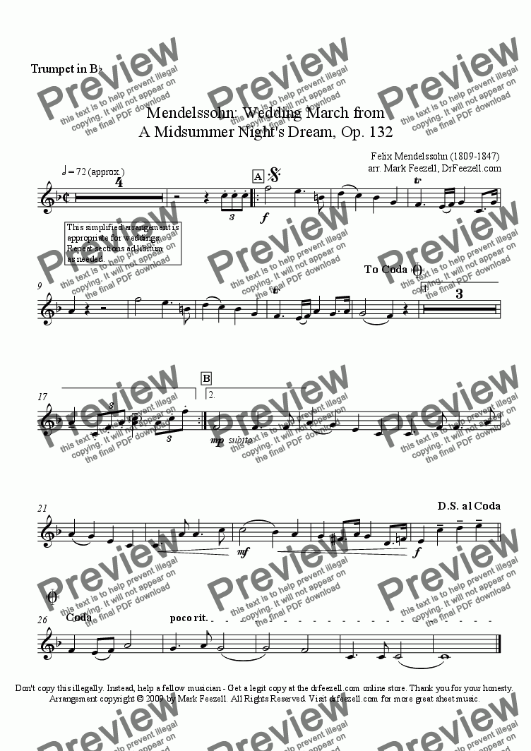 page one of the trumpet solo part part from Wedding March for trumpet and piano