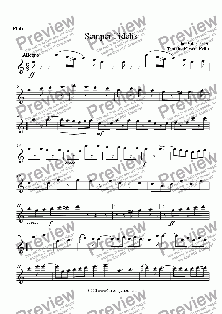 page one of the Flute part from Sousa - Semper Fidelis