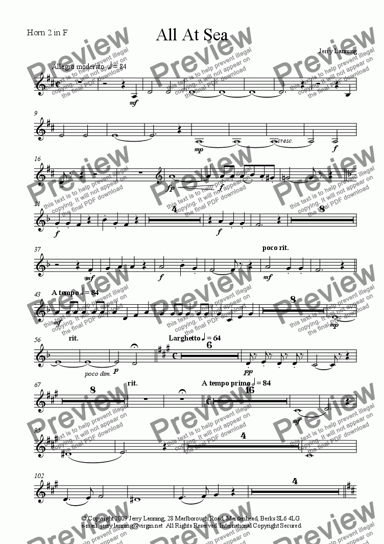 page one of the Horn 2 in F part from All At Sea (Orchestra)