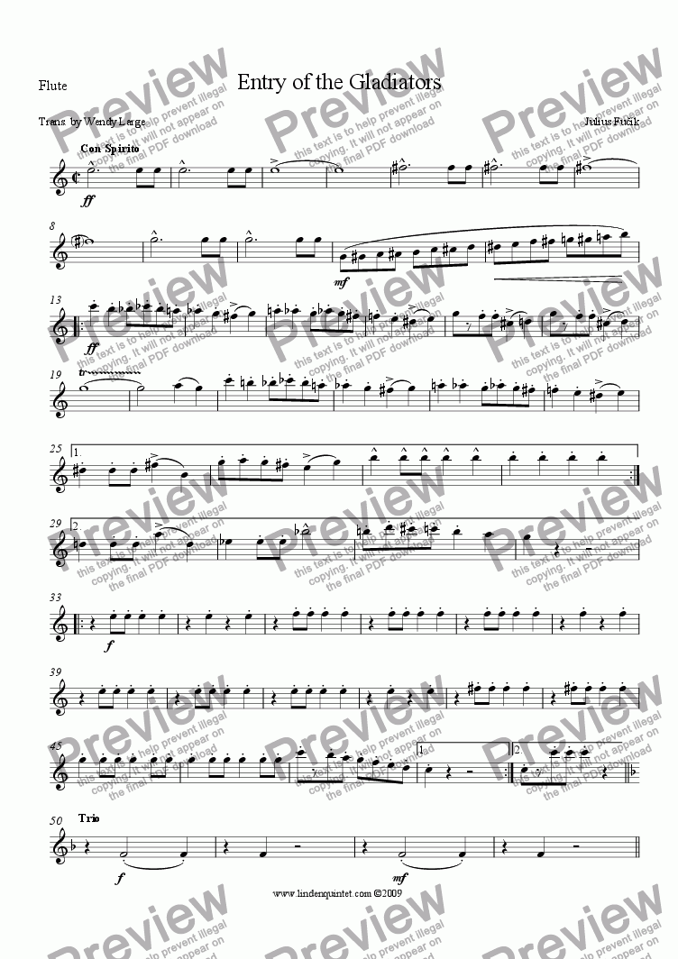 page one of the Flute part from Fucik - Entry of the Gladiators