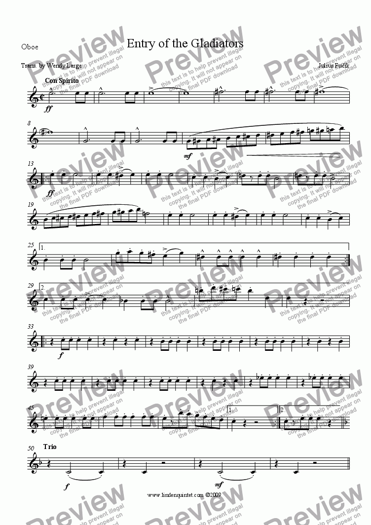 page one of the Oboe part from Fucik - Entry of the Gladiators