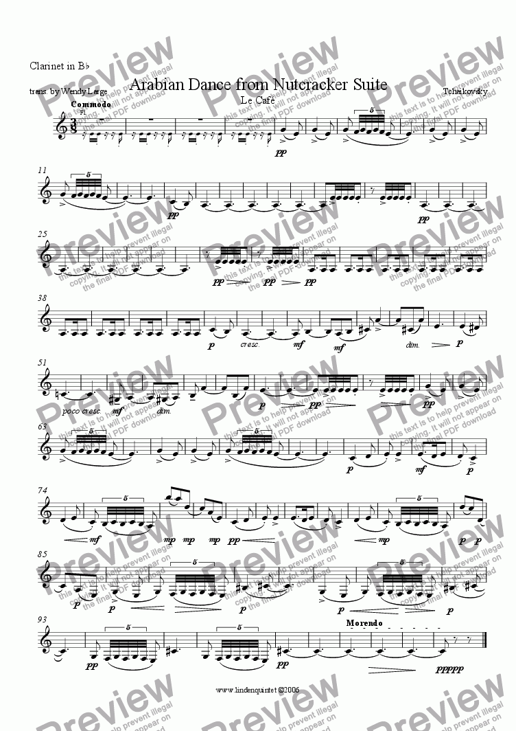 page one of the Clarinet part from Tchaikovsky - Nutcracker - Arabian Dance