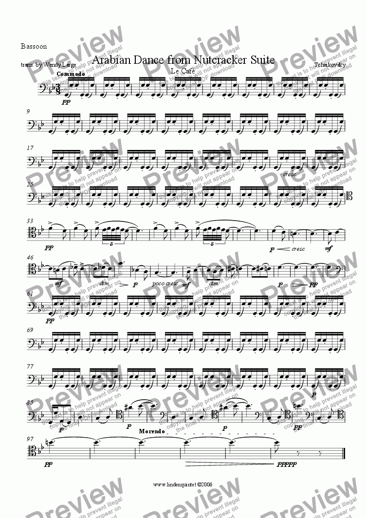 page one of the Bassoon part from Tchaikovsky - Nutcracker - Arabian Dance