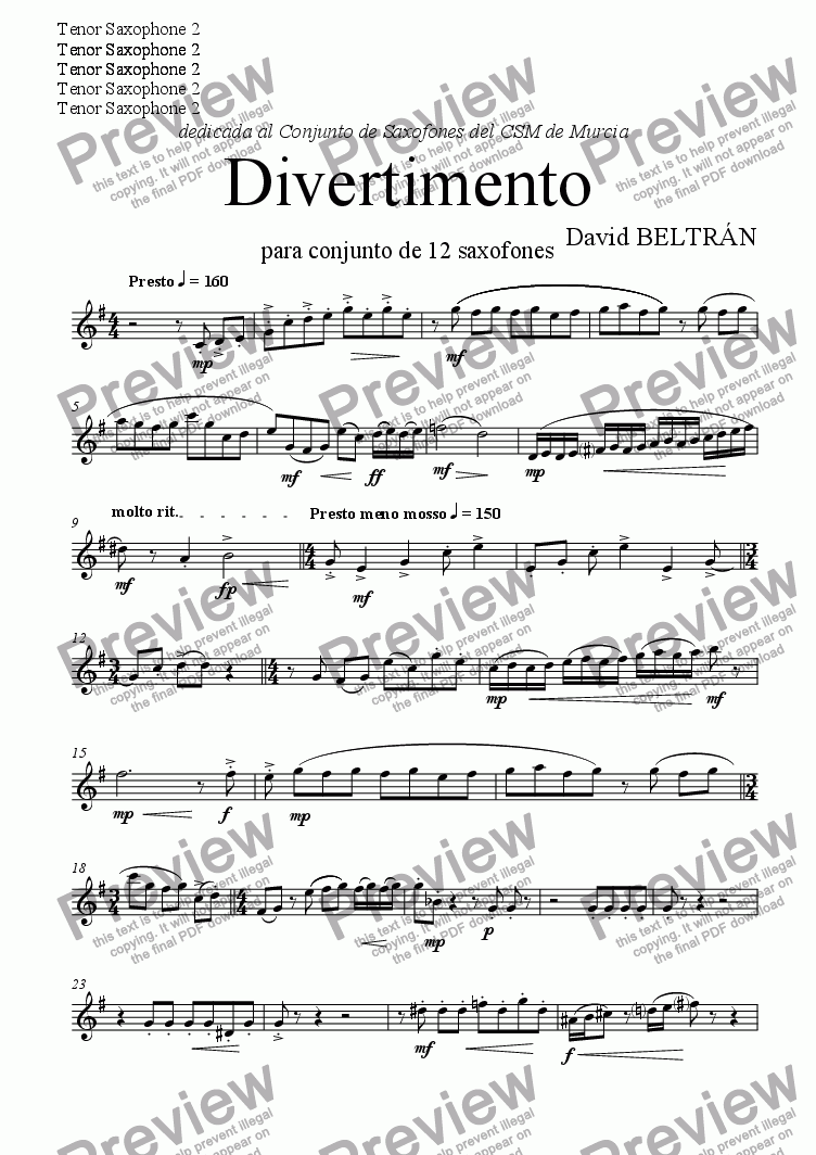 page one of the Tenor 2 part from Divertimento para Conjunto de Saxofones