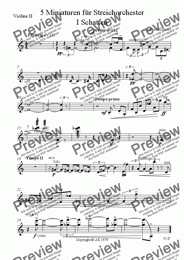 page one of the violin II part from Shadows I