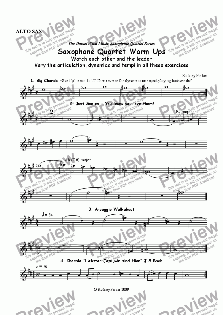 page one of the Alto Sax part from Saxophone Quartet Warm-Ups