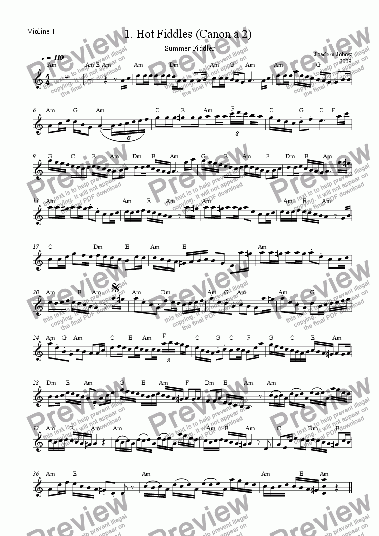 page one of the 1. Vl /Harm part from Summer Fiddler 01 (Hot Fiddles)