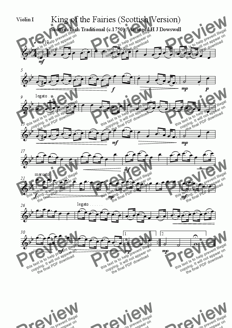 page one of the Violin 1 part from Irish/Scottish Hornpipe : King of the Fairies - arranged for string quartet