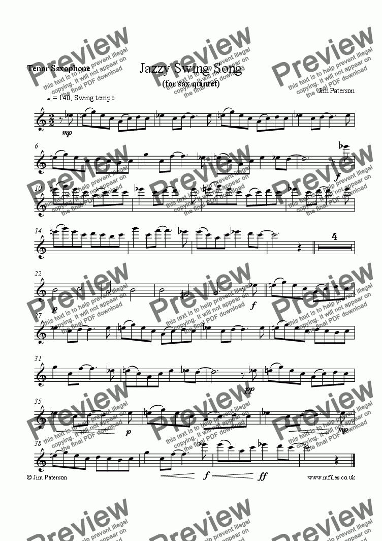 page one of the Tenor Sax part from Jazzy Swing Song (Sax Quintet)