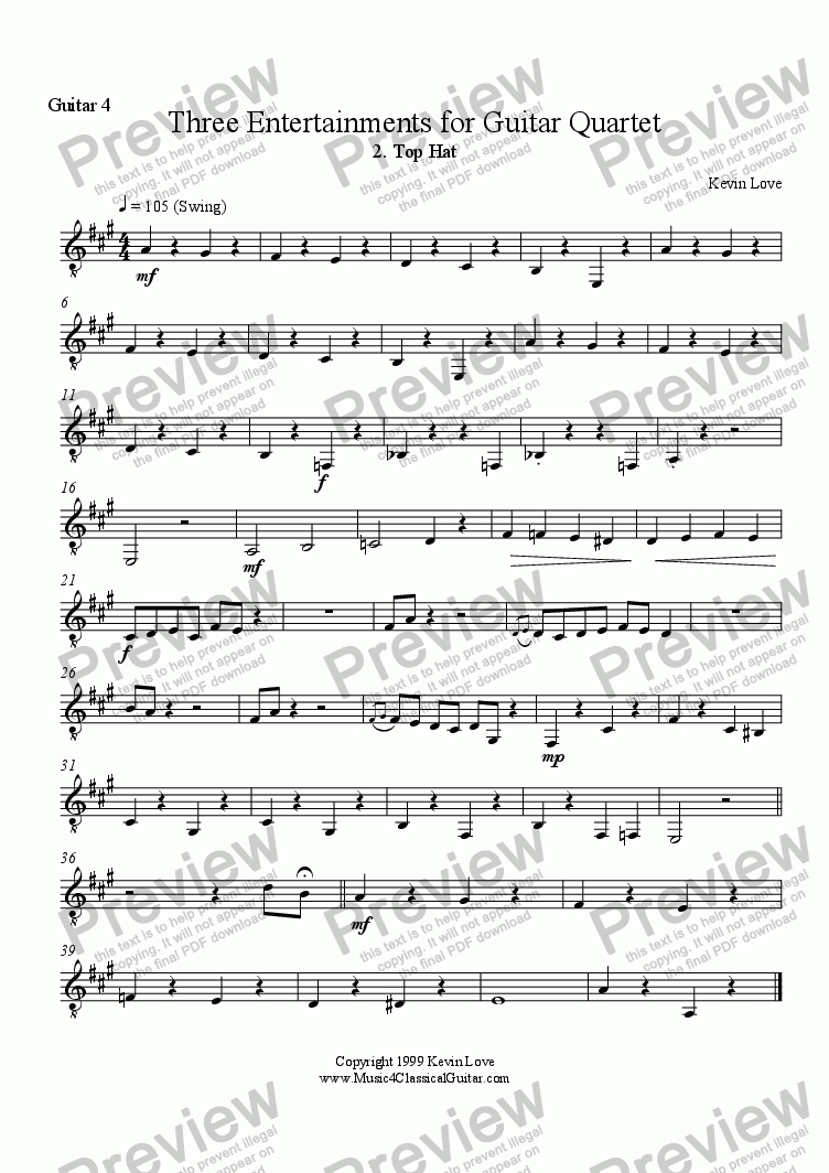 page one of the Guitar 4 part from Top Hat (Quartet)