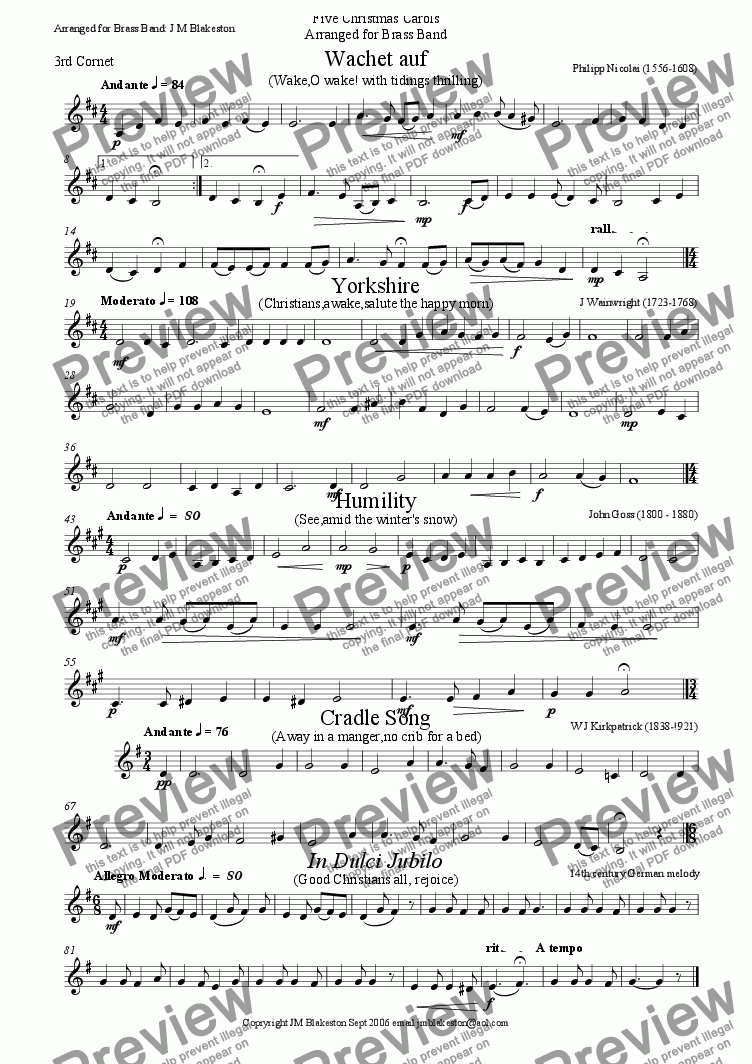 page one of the 3rd cornet part from 5 Christmas carols No.1