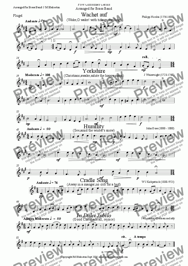 page one of the flugel part from 5 Christmas carols No.1