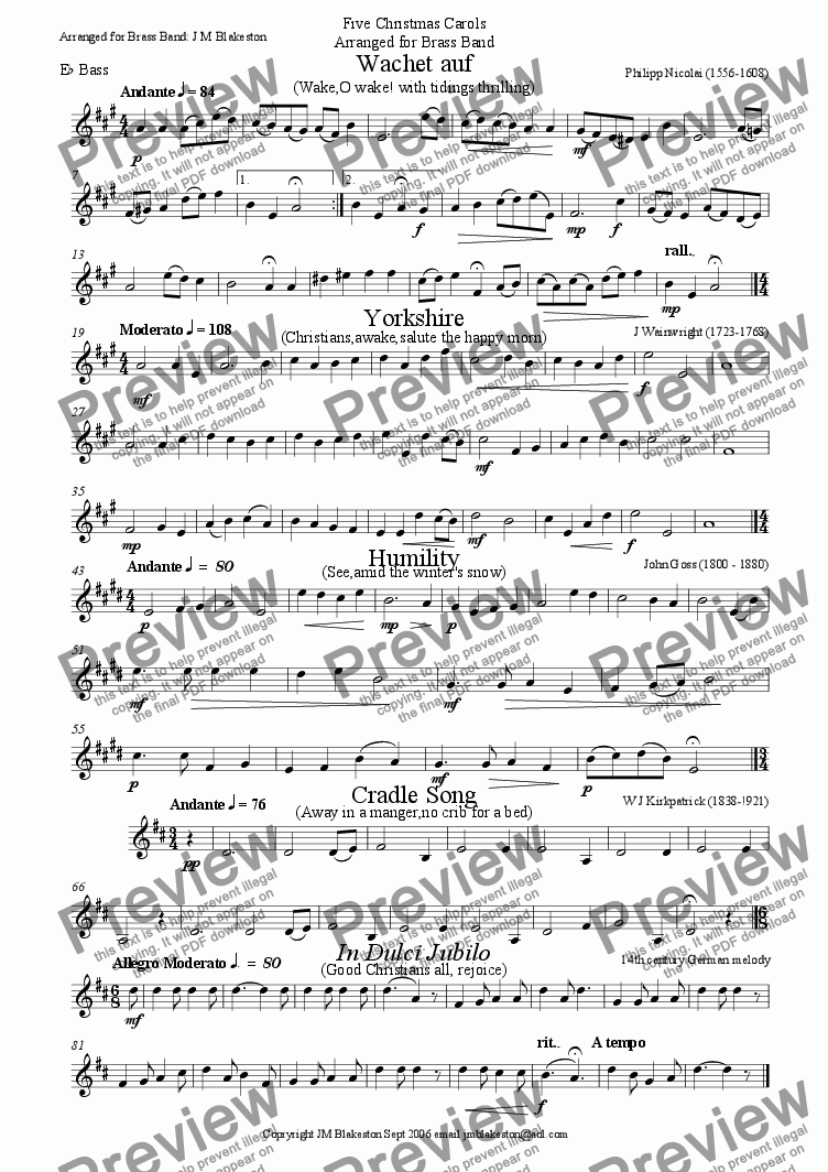 page one of the Eb bass part from 5 Christmas carols No.1