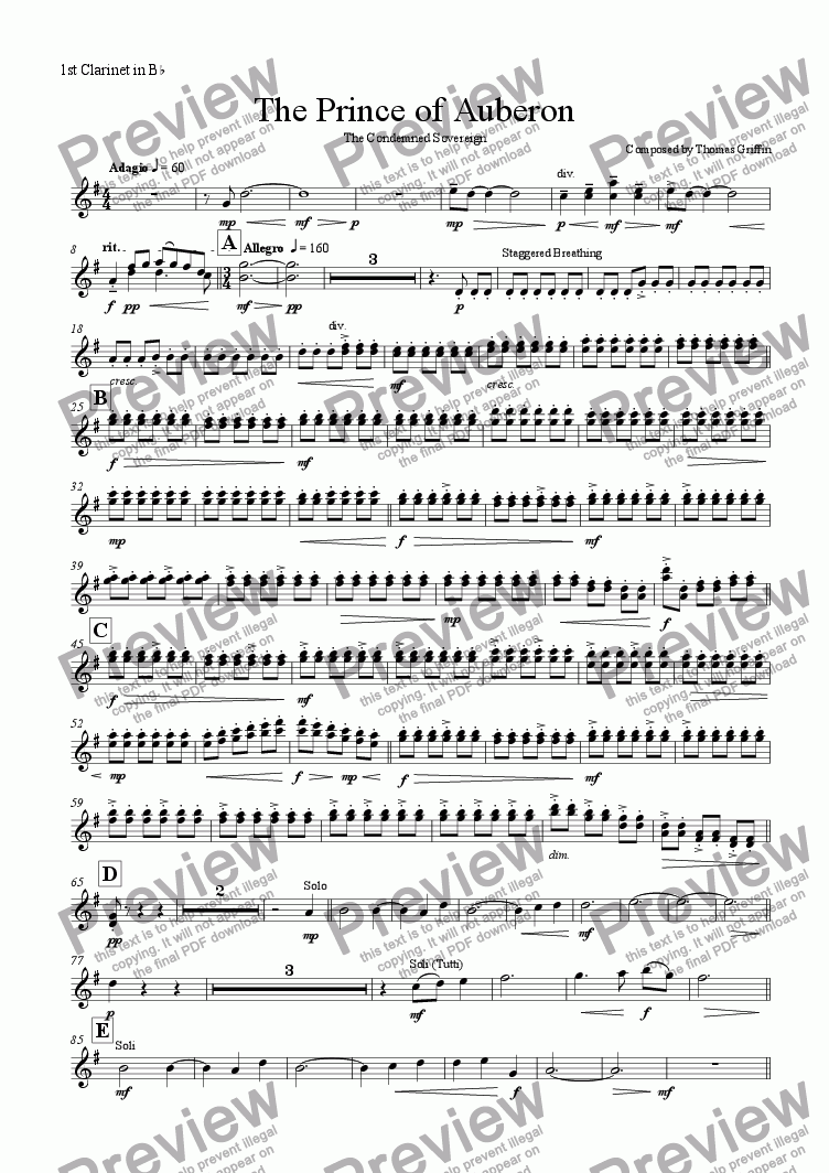 page one of the 1st Clarinet in Bb part from The Prince of Auberon
