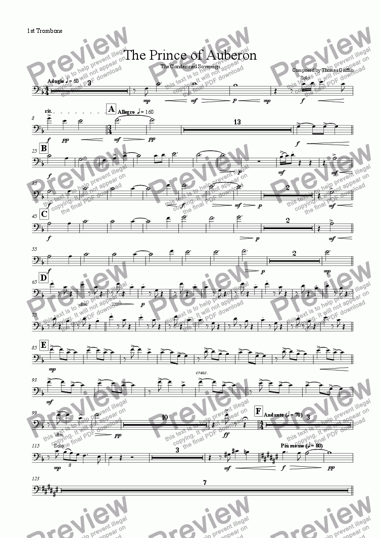 page one of the 1st Trombone part from The Prince of Auberon