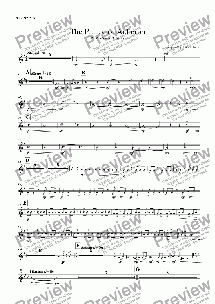 page one of the 3rd Cornet in Bb part from The Prince of Auberon