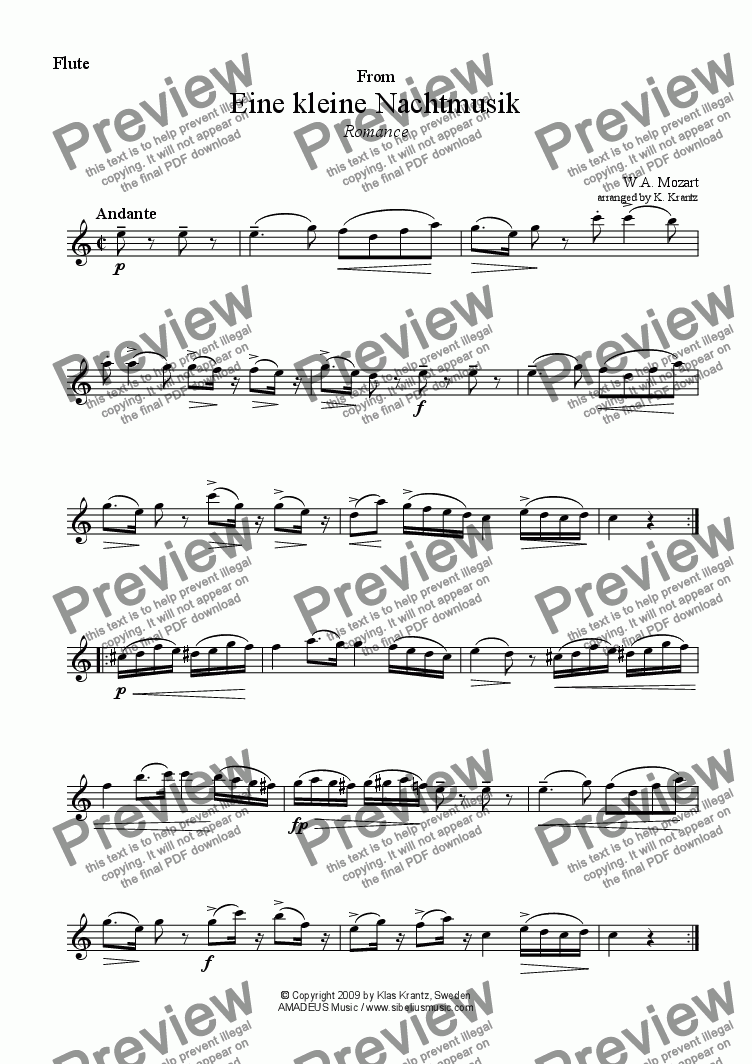 page one of the flute part from Romance from Eine kleine Nachtmusik for flute and guitar