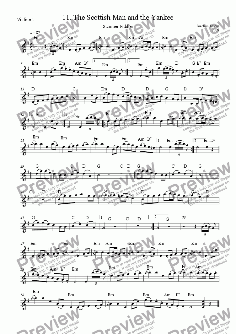 page one of the 1. Vl /Har, part from Summer Fiddler 11 (The Scottish Man and the Yankee)