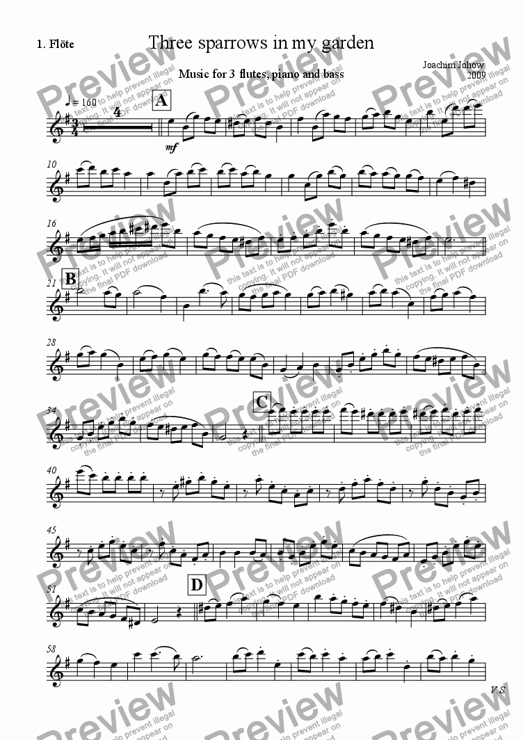 page one of the 1. Fl part from 3 Sparrows in my garden ( 3 flutes, piano, bass)