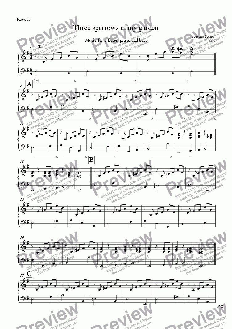 page one of the Piano part from 3 Sparrows in my garden ( 3 flutes, piano, bass)