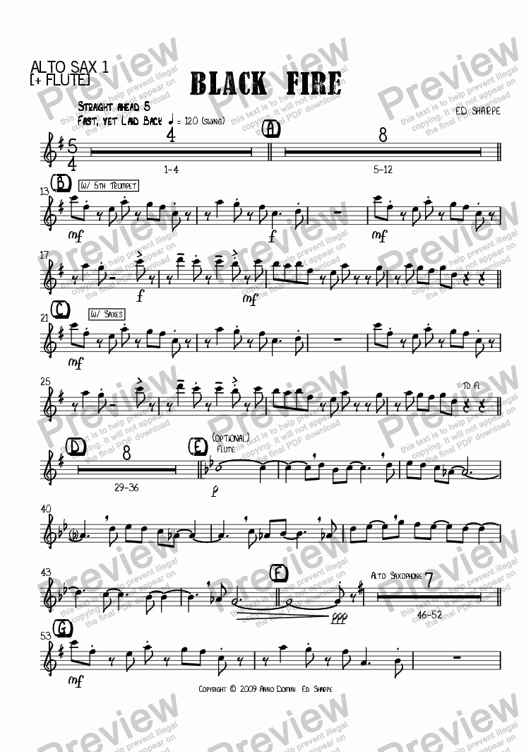 page one of the Alto Sax 1 part from Black Fire