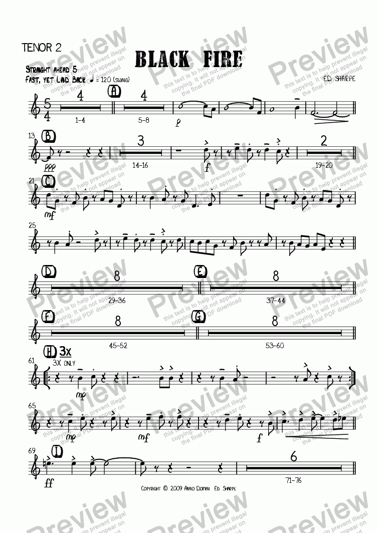 page one of the Tenor Sax 2 part from Black Fire