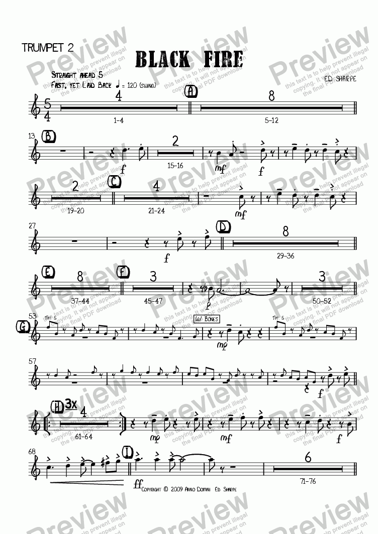 page one of the Trumpet 2 part from Black Fire