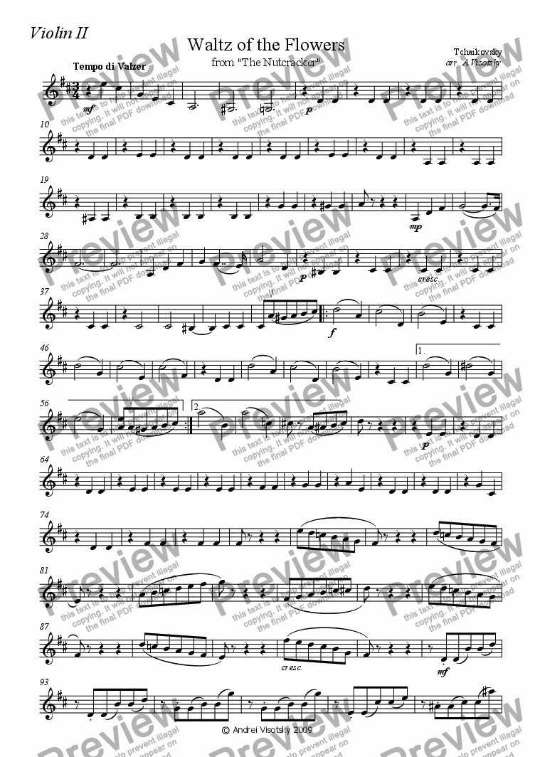 "page one of the violin II part from ""Waltz of The Flowers"" from ""The Nutcracker"""