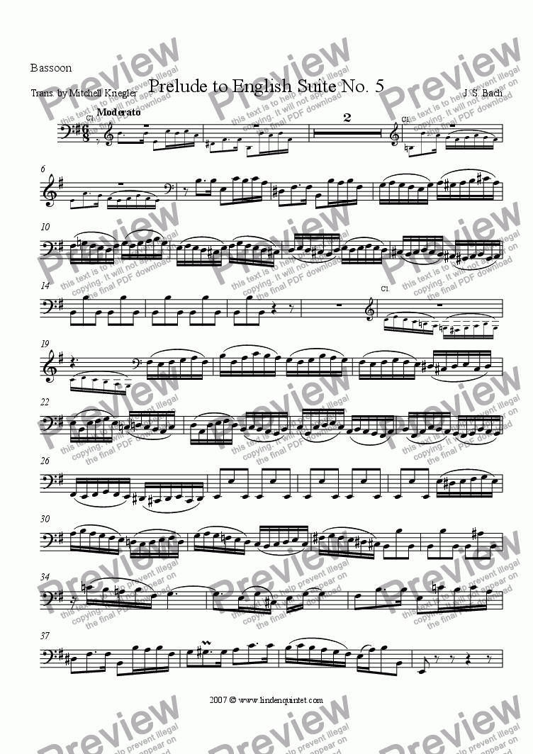 page one of the Bassoon part from Bach - Prelude to English Suite V