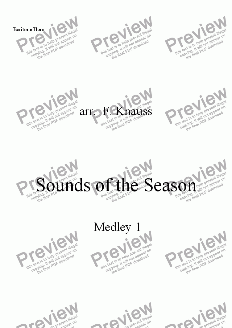 page one of the Baritone T.C. part from Sounds of the Season, Medley 1