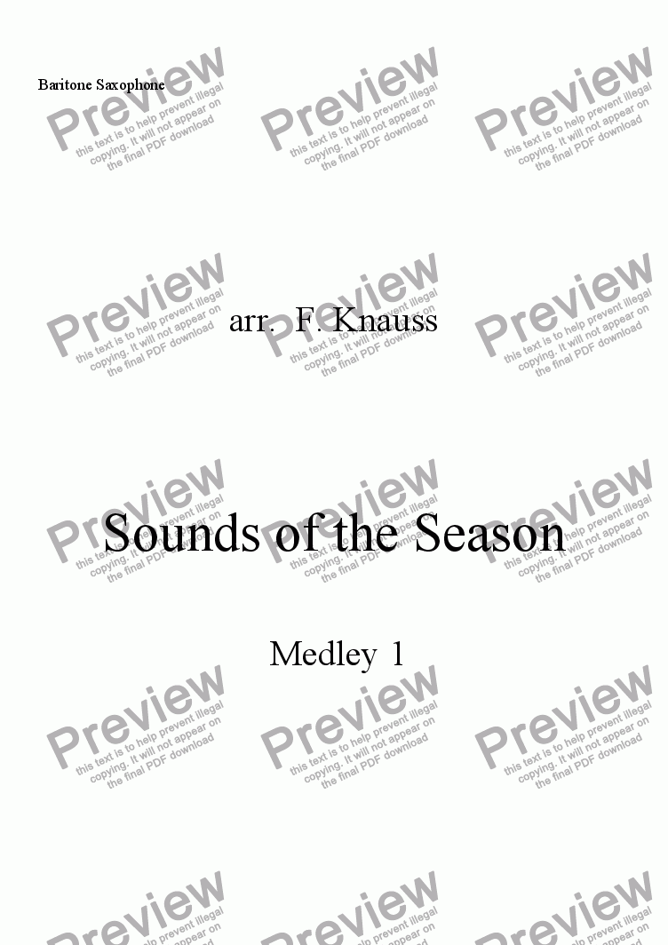 page one of the Bari Sax part from Sounds of the Season, Medley 1
