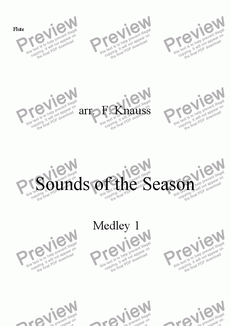 page one of the Flute part from Sounds of the Season, Medley 1