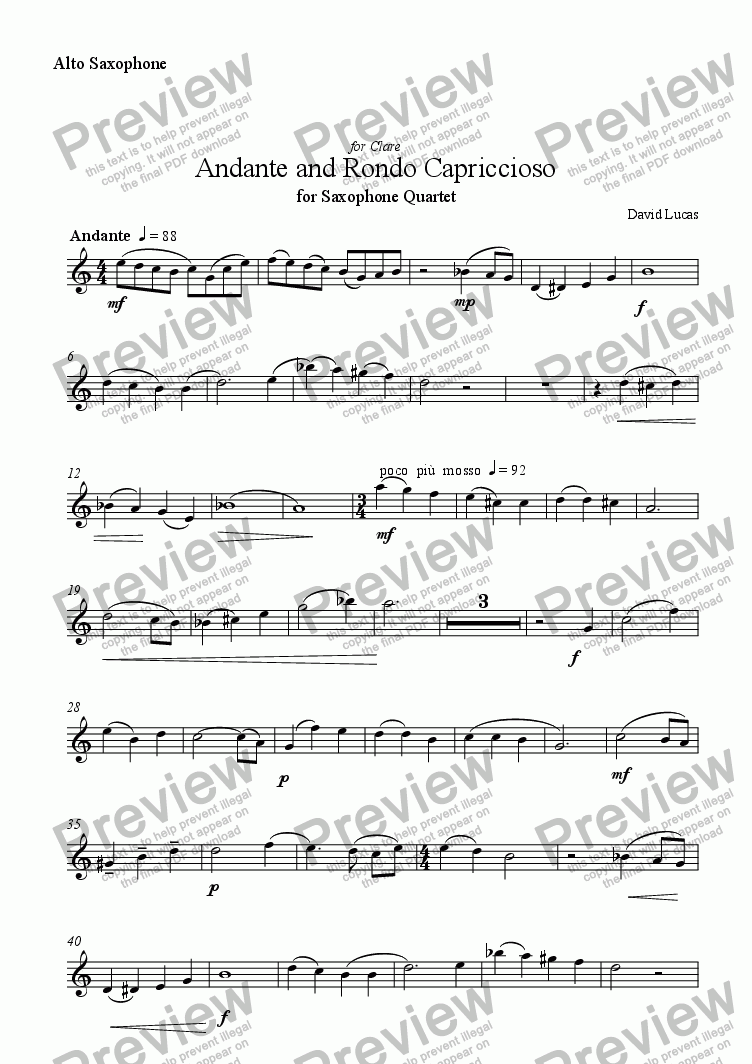 page one of the Alto Saxophone 2 part from Andante and Rondo Capriccioso for Saxophone Quartet